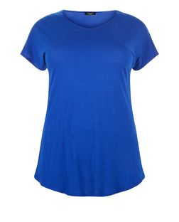 Curves Bright Blue Step Hem T-Shirt | New Look