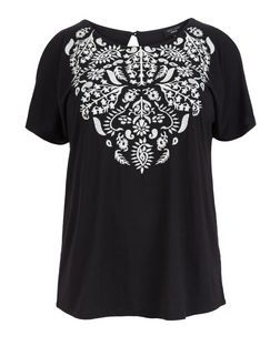 Plus Size Black Embroidered Cold Shoulder Top | New Look