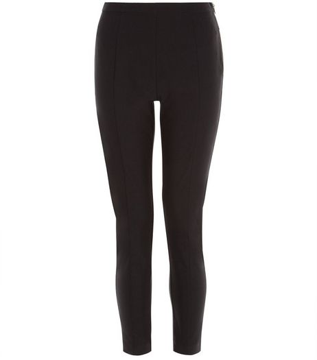 Black Bengaline Slim Leg Cropped Trousers  | New Look