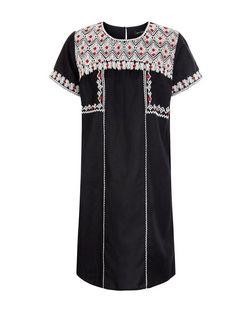 Black Fine Knit Embroidered Tunic Dress | New Look