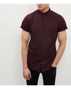 Dark Red Diamond Print Roll Sleeve Oxford Shirt | New Look
