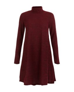 Burgundy Ribbed Funnel Neck Long Sleeve Swing Dress  | New Look