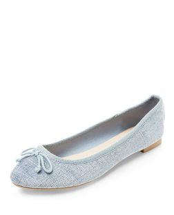 Pale Blue Flecked Ballet Pumps  | New Look