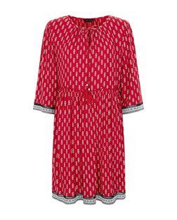 Red Tile Print Tie Front Smock Dress  | New Look