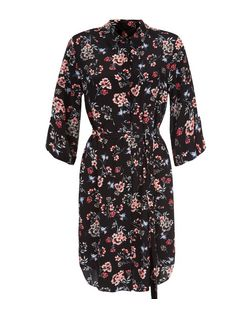 Black Floral and Bird Print 3/4 Sleeve Shirt Dress  | New Look