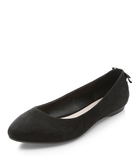 Black Suedette Bow Back Pointed Pumps  | New Look