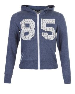 Girls Navy Crochet 85 Print Zip Up Hoodie | New Look