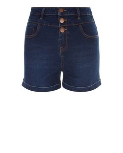 Girls Navy High Waisted Denim Shorts | New Look