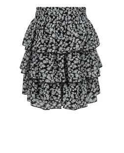 Girls Black Ditsy Floral Rara Skirt  | New Look