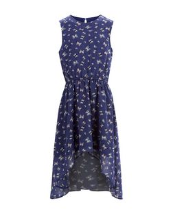 Girls Blue Butterfly Print Chiffon Dim Hem Dress | New Look