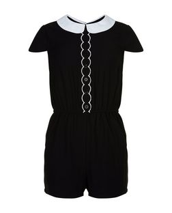 Girls Black Contrast Collar Playsuit | New Look