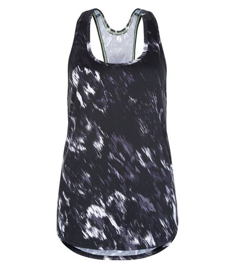 Black Abstract Blur Print Sports Vest  | New Look