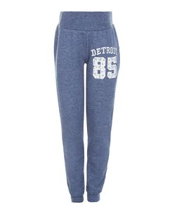 Girls Navy Crochet Detroit 85 Print Joggers | New Look