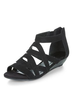 Teens Black Suedette Strappy Wedges  | New Look