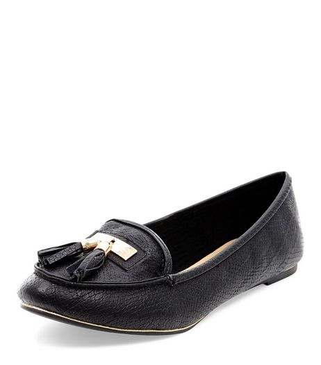 Black Textured Tassel Front Loafers  | New Look