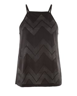 Black Zig Zag Jacquard Cami | New Look