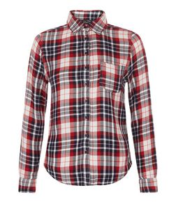 Teens Blue and Red Check Long Sleeve Shirt | New Look