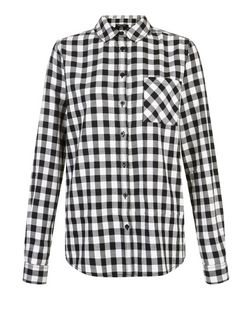 Tall Black Gingham Check Boyfriend Shirt | New Look