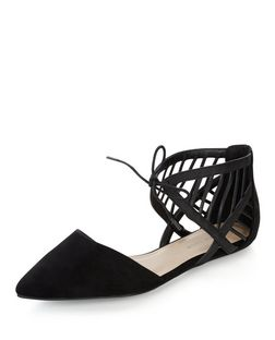 Wide Fit Black Suedette Caged Pointed Pumps  | New Look