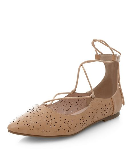 Wide Fit Camel Laser Cut Out Pointed Ghillie Pumps  | New Look