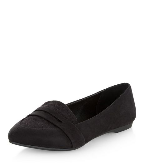 Wide Fit Black Woven Canvas Panel Pointed Pumps  | New Look