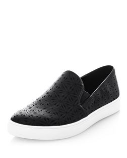 Black Floral Laser Cut Out Slip On Plimsolls | New Look