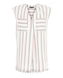 White Stripe Double Pocket Grandad Collar Sleeveless Shirt  | New Look