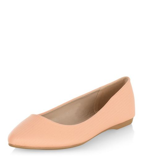 Wide Fit Coral Pointed Pumps  | New Look