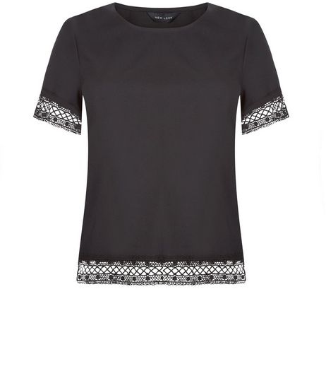 Black Lace Trim T-Shirt | New Look