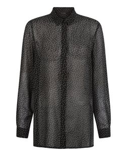 Black Chiffon Polka Dot Print Long Sleeve Shirt  | New Look