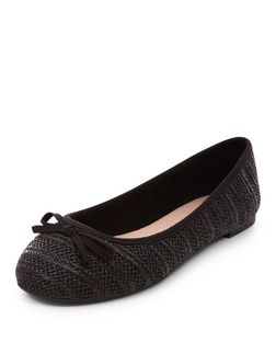 Wide Fit Black Woven Stripe Ballet Pumps  | New Look