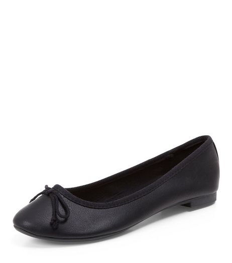 Black Leather-Look Ballet Pumps  | New Look