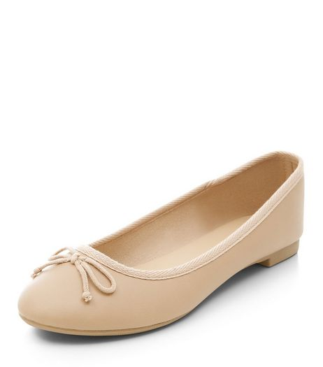 Stone Leather-Look Ballet Pumps | New Look