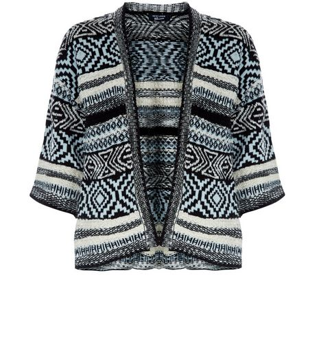 Teens Mint Green Aztec Print Knitted Kimono | New Look