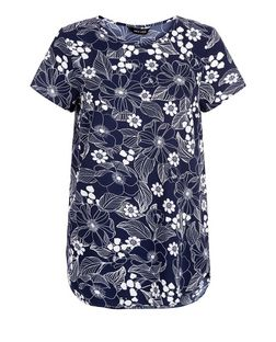 Blue Floral Print Dip Hem T-Shirt  | New Look