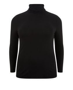 Plus Size Black Turtle Neck Long Sleeve Top  | New Look