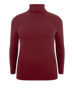 Plus Size Burgundy Turtle Neck Long Sleeve Top | New Look