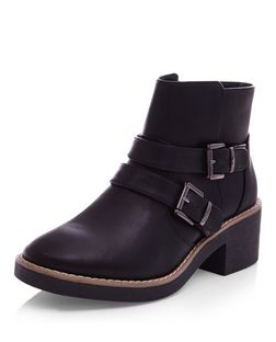 Teens Black Leather-Look Buckle Ankle Boots | New Look
