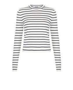 Blue Stripe Funnel Neck Jumper  | New Look