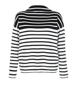 Black Stripe Funnel Neck Jumper  | New Look