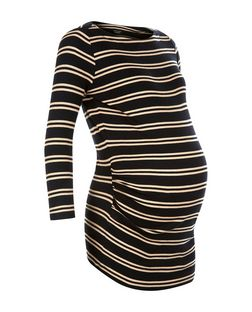 Maternity Black Double Stripe Ribbed Top | New Look