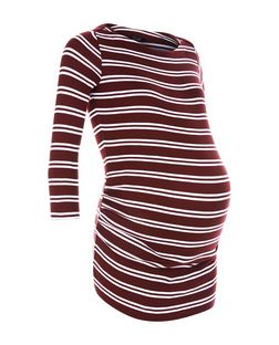 Maternity Red Double Stripe Ribbed Top | New Look