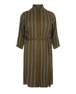 Plus Size Green Stripe Shirt Dress | New Look