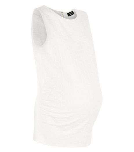 Maternity Cream Daisy Jacquard Tank Top  | New Look