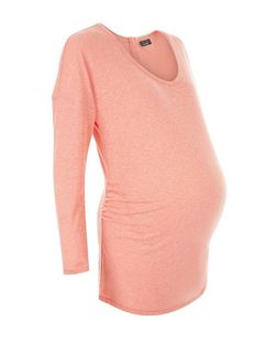Maternity Coral Long Sleeve Zip Back Top | New Look