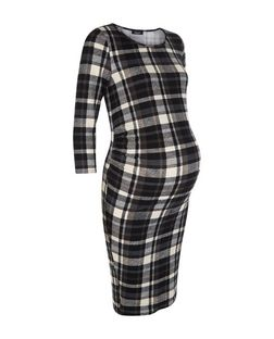 Maternity Black Check 3/4 Sleeve Dress | New Look