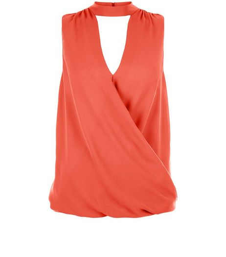 Coral Funnel Neck Wrap Front Blouse  | New Look