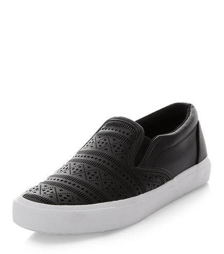 Teens Black Laser Cut Out Slip On Plimsolls  | New Look