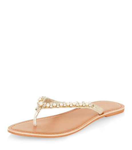 Gold Pearl Embellished Sandals  | New Look