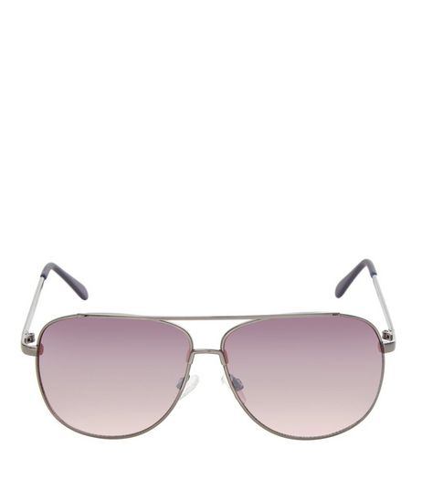 Pewter Double Bar Metal Pilot Sunglasses  | New Look
